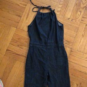 Denim Backless Bellbottom jumpsuit